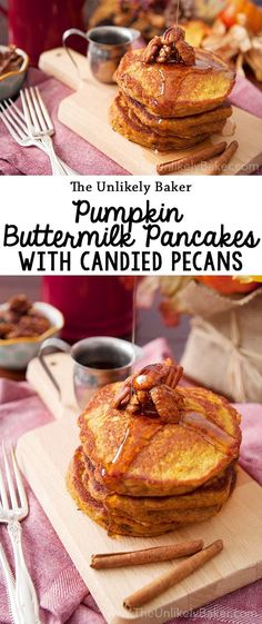 Light, fluffy and full of the warm, cozy flavours of fall, these pumpkin buttermilk pancakes are sure to become a breakfast favourite! #recipe #breakfast #brunch #pumpkin
