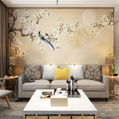 Hand Painted Cherry Tree Chinoiserie Wallpaper Wall Mural, Vintage Flowers Birds Wall Mural, Fine Brushwork Birds and Flowers Wall Mural Wallpaper Wall, Chinoiserie Wallpaper, Custom Wallpaper, Peacock Wallpaper, Retro Wallpaper, Painting Wallpaper, Ink Painting, Magnolia Wallpaper, Open Wall