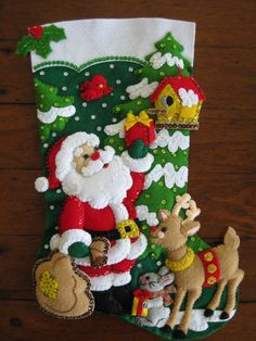 Santa and his Friends Completed by MissingSockStitchery on Etsy