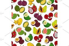Exotic fruits seamless pattern Graphics Exotic fruits seamless background. Wallpaper with pattern of tropical fruit icons papaya, durian, ca by Vector Tradition SM