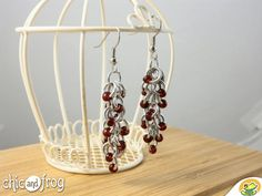 Red beads earrings Red shaggy loop by Chicandfrog on Etsy