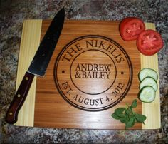 Custom Cutting Board Personalized Bamboo Wood Engraved Cutting Board. Perfect with the holidays just around the corner!