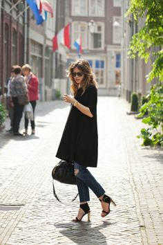 Outfit Inspiration: Dress & Jeans - because im addicted