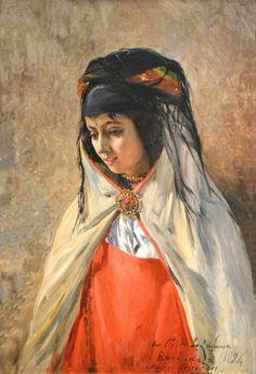 Algérie - Peintre Français Eugène Girardet (1853-1907), huile sur toile , Titre : Portrait d'une fille de Bou Saada