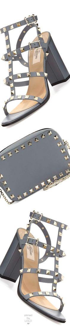 Valentino Rockstud Leather 90mm City Sandal, Light Stone