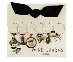 Wine Charms with AQHA logo and -Horse, Hat, Boots and saddle charms.   Wonderful Christmas gift!