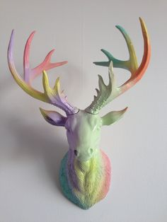 Stag Head 'Pastel Punk'❤️  https://www.ebay.co.uk/ulk/itm/281993462115   Www.pinkparrotsco.co.uk Www.fb.com/pinkparrotsco