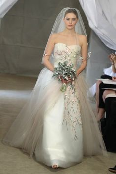 wedding gowns 2013 | Spring 2013 bridal gowns Carolina Herrera wedding dress muted tulle ...