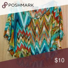 BCX - Multi-colored chevron top Colorful top featuring a stretchy band on bottom BCX Tops Blouses