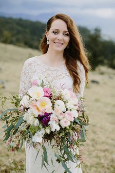 ERIN + CRAIG // #bride #bridal #dress #lace #sleeves #elegant #classic #wedding #ceremony #reception #flowers #bouquet #overflowing #foliage #hair #makeup #inspiration #natural