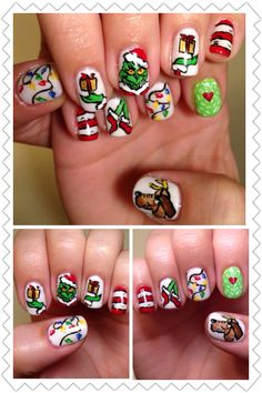I did my own The Grinch nail art with gelish and acrylic paint. It took for ever but it was so worth it!