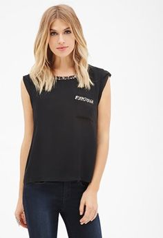 FOREVER 21  Contemporary Sequin-Trimmed Top - Shop for women's tops
