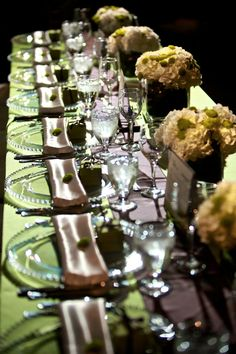 Green, Ivory, and Glass Beaded Chargers. #yyceventrentals www.greateventsrentals.com