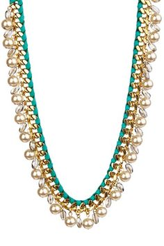 Leather Chain Link Swarovski Pearl Necklace by Sara Designs on @HauteLook