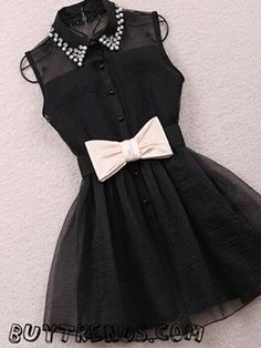 Black dress with bow tie and sparkles(: Grad Dresses, 15 Dresses, Cute Dresses, Short Dresses, Party Dresses, Dress With Bow, Dress Up, Tie Dress, Collar Dress