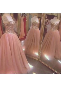 Pink Sweetheart Floor Length Chiffon Ball Gown Prom