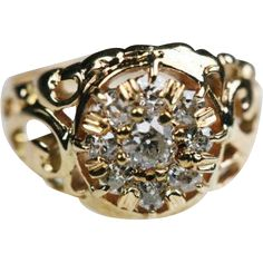 Diamond Cluster Ring Cut Out Scroll Design 14K  found at www.rubylane.com @rubylanecom
