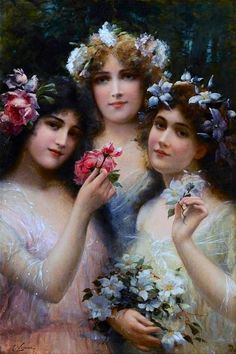 Emile Vernon The Three Graces painting for sale, this painting is available as handmade reproduction. Shop for Emile Vernon The Three Graces painting and frame at a discount of off. Vernon, Munier, Art Ancien, Affinity Photo, Foto Art, Victorian Art, Victorian Ladies, French Artists, Thalia