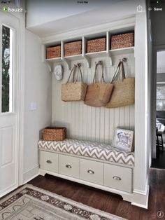Have tongue and groove paneling and storage bench to save on cost of custom cabinets? Mudroom off entryway with pale greige built-in storage bench with tongue and groove paneled backsplash topped with open storage cubbies. Home Design, Interior Design Kitchen, Design Ideas, Porch Interior Ideas, Design Blogs, Interior Livingroom, Design Design, Beach Design, Kitchen Designs