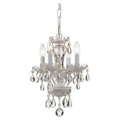 "Elegantly illuminate your foyer or dining room with this eye-catching steel chandelier, showcasing a white finish and crystal drop accents.  Product: Chandelier Construction Material: Steel and crystalColor: WhiteFeatures:  Hand-cut crystal accents72"" Chain lengthUL listed 144"" Wire lengthAccommodates: (4) 60 Watt bulbs - not includedDimensions: 15"" H x 11"" Diameter"