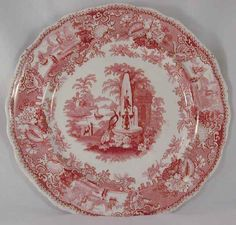 """Mulberry Transfer Ware Ironstone 8 1/2"""" Plate W. Adams & Sons Pottery Staffordshire Grecian Font Pattern"""