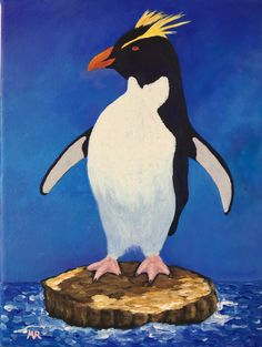 Rockhopper-pinguin_By Monique Frees. This chaming bird is one of our 1 cookie lessons we reccomend  new acrylic painters do. This is just one of over 295 lessons to learn to master acrylic painting. Lovely.