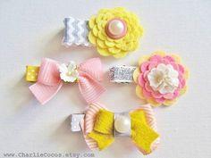 Girls/Baby Hair Clip Set, Felt Flower, Felt Bow Hair Clips, Unique Hair Clips, Flower Hair Clips, Hair Bow Clips-Spring Bows