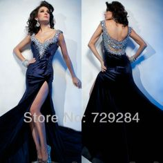 Floor Length Pageant Dress For Women High Leg SLit Long Rhinestone Details Cape Sleeve Evening Dresses