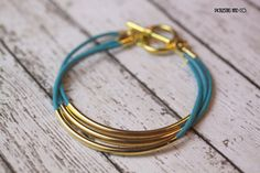 Bracelet Turquoise Leather and Gold Tubes by PickleStiksandCo, $22.00