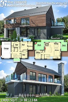 Plan Modern Rustic House Plan with Huge Deck - Architectural Designs Modern Home Plan with Bedrooms 2 full baths and a half bath in - Rustic House Plans, Modern House Plans, Modern House Design, Luxury Homes Interior, Home Interior Design, Interior Modern, The Plan, How To Plan, Modern Rustic Homes