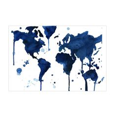 It's a beautiful world we live in—celebrate that beauty with this incredible art print. Here, the populated continents are rendered in melting indigo shades. It's a beautiful tribute to the home we all share.