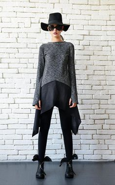 NEW Asymmetric Loose Tunic/Grey and Black Top/Extravagant