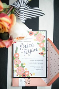 floral invitations for a black and white striped wedding