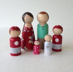 Custom Peg Doll Family 6pc set por PegHeads en Etsy