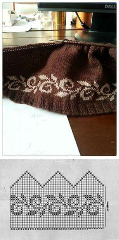 Ordan Burdan  pretty floral vine or leaf and scroll knit figure edge pattern
