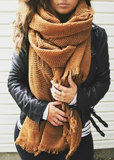 Mustard Yellow Blanket Scarf (FREE US SHIPPING)