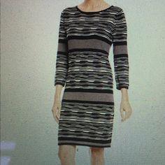 Spense sweater dress Spense stripped sweater dress in black/ivory. Spense Dresses