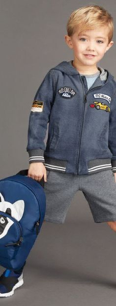 ON SALE !!!!   Love this Super Cute DOLCE & GABBANA Boys Blue Denim Bomber  Jacket with Racer Patches. Looks Perfect with these Grey Sweat Shorts & Dog Applique Back Back. #kidsfashion #dolcegabbana #sale #boy  #d&g #cute