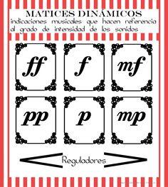 Láminas de matices dinámicos elementales para usarlas en tarjetas para juegos o pósters para el aula de música. Para descargarlas seguir el enlace de la web