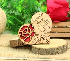 Calendar Save the Date Magnet Wood Rose Save the Date Magnet Wooden Crafts, Diy And Crafts, Paper Crafts, Valentine Theme, Valentine Gifts, Wood Laser Ideas, Personalised Love Hearts, Cute Boyfriend Gifts, Laser Cutter Projects