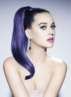 Katy Perry with sleek purple color.