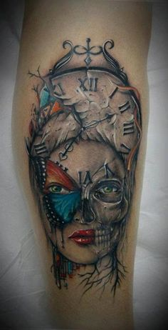 Colour Skull, Clock, Girl, and Butterfly Arm Tattoo By Bacanu Bogdan