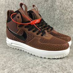 2018 How To Buy 2018 Nike Lunar Force 1 Duckboots High Men Sneakers Brown Black Brown Sneakers, Men Sneakers, Sneakers Fashion, Fashion Shoes, Shoes Men, Mens Fashion, Brown Leather Motorcycle Jacket, Baskets, Nike Shoes Air Force