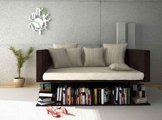 Minimalist Modern Livingroom with Creative Decor Table bookshelf