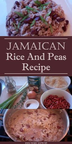 Jamaican Rice And Peas Recipe The post Jamaican Rice And Peas Recipe & Rezepte appeared first on Oxtail recipes . Pea Recipes, Indian Food Recipes, Cooking Recipes, Ethnic Recipes, Jamaican Food Recipes, Jamaican Appetizers, Recipes With Rice, Guyanese Recipes, Amish Recipes