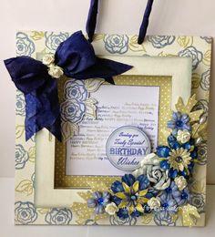 Altered frame. Anna Marie Designs home decor frame, stamps & patterned card.