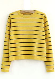++ yellow striped round neck long sleeve knit sweater