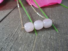 14k gold filled triple Rose Quartz bead necklace / by AlohaXO