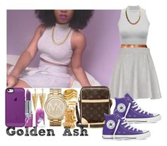 """Purple Louis & Michael Converse Skaters"" by fashionsetstyler ❤ liked on Polyvore featuring River Island, Louis Vuitton, Lime Crime, Converse, Michael Kors, Belkin, Forever 21, Charlotte Russe, Rebecca Minkoff and Gorjana"