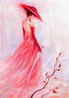 Plum Girl DIY Paint By Diamond Kit is part of Painting Description Diamond Paintings let you create beautiful mosaics without needing to be an artist Pick your canvas up and you& basically - Diy Painting, Painting & Drawing, Dress Painting, Fine Art, Oeuvre D'art, Painting Inspiration, Lady In Red, Pink Lady, Amazing Art